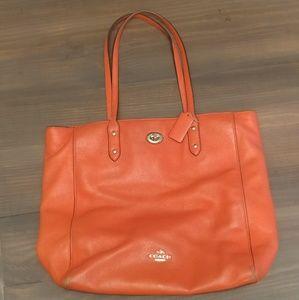 Coach orange leather double strap bag